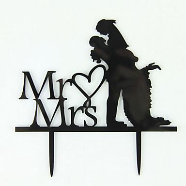 Décorations de Gâteaux Couple classique Acrylique Mariage Enterrement de Vie de Jeune Fille Avec O-phénylphénol