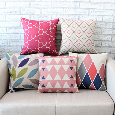 pcs Linen Pillow Case, Geometric Graphic Prints Accent/Decorative Traditional/Classic Office/Business Modern/Contemporary