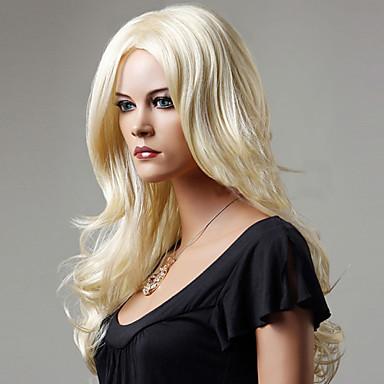 Sentetik Saç peruk Dalgalı Bonesiz Orta Sarışın