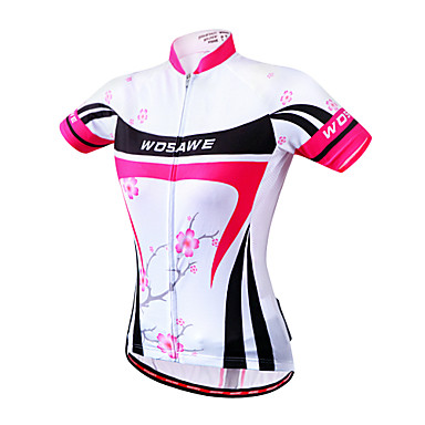 WOSAWE Women's Short Sleeves Cycling Jersey Floral / Botanical Bike Jersey, Quick Dry, Anatomic Design, Breathable, Reflective Strips