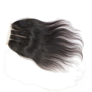 Бразильские виргинские застежки -молнии человеческих волос 130% 1b 4 * 4 дюйма 3 части прямое верхнее кружево закрытие 8