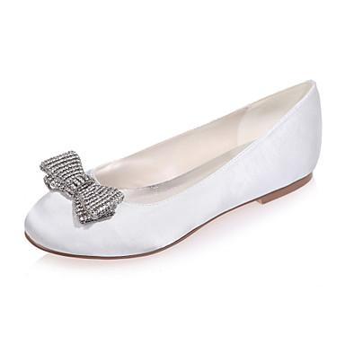 Kadın's Ayakkabı Saten Bahar / Yaz Düz Taban Düğün / Parti ve Gece için Mavi / Açık Kahverengi / Kristal