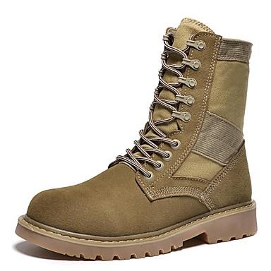 للرجال Fashion Boots كانفا / جلد خريف مريح / جزم للدراجات النارية كتب أسود / بني فاتح