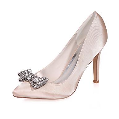 Naisten Kengät Satiini Kevät Kesä Stilettikorko varten Häät Juhlat Purppura Sininen Pinkki Vaaleanruskea Kristalli