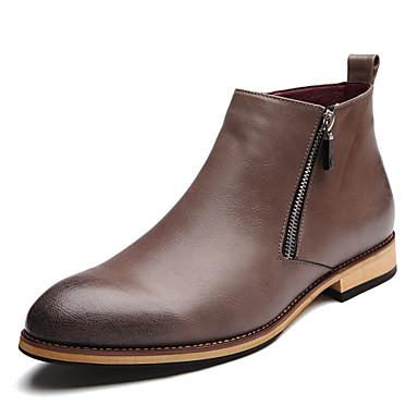Homens sapatos Courino Outono / Inverno Conforto Botas 5.08-10.16cm / Botas Cano Médio Preto / Cinzento / Marron