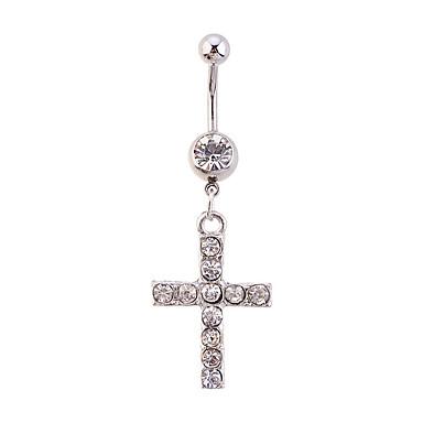 Kristal Göbek Halkası / Göbek Piercing - Kristal Krzyż Eşsiz Tasarım, Moda Kadın's Gümüş Vücut Mücevheri Uyumluluk Günlük / Yapay Elmas