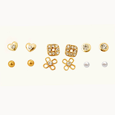 abordables Boucle d'Oreille-Femme Cristal Boucles d'oreille Clou Cœur Fleur Cristal Des boucles d'oreilles Bijoux Doré Pour Soirée Quotidien Décontracté