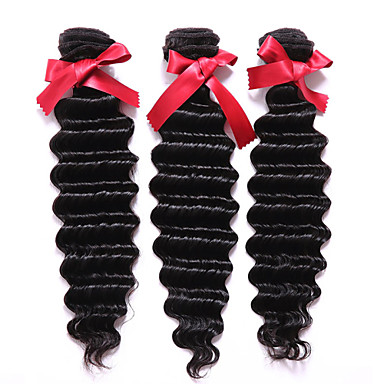Cabelo Humano Ondulado Cabelo Peruviano Onda Profunda 12 meses 3 Peças tece cabelo