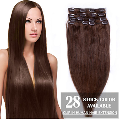 voordelige Extensions van echt haar-Febay Clip-in Extensions van echt haar Recht Echt haar Extentions van mensenhaar 1 Bundel Dames Golden Brown / goudblonde / Bleached Blonde