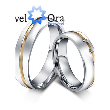 Gyűrűk Divat Parti Ékszerek Kocka cirkónia / Acél Női Karikagyűrűk 1db,Egy méret Aranyozott