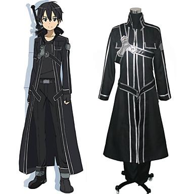 Ispirato da Sword Art Online Kirito Anime Costumi Cosplay Abiti Cosplay Tinta unita Manica lunga Cappotto Maglietta Pantaloni Guanti