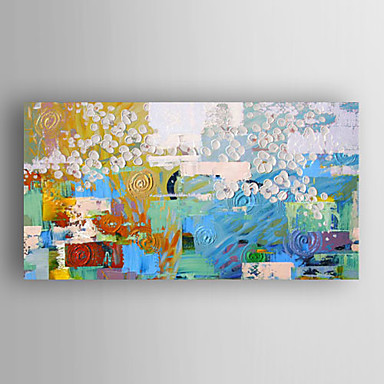 Hand-Painted Abstract Horizontal Panoramic, Modern Canvas Oil Painting Home Decoration One Panel