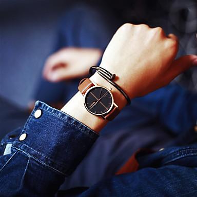 Men's Women's Couple's Quartz Wrist Watch Hot Sale Leather Band Charm Fashion Black Brown