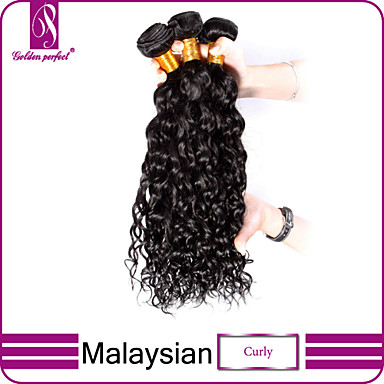 baratos Extensões de Cabelo Natural-3 pacotes Cabelo Malaio Encaracolado Clássico 10A Cabelo Virgem Cabelo Humano Ondulado Tramas de cabelo humano Extensões de cabelo humano