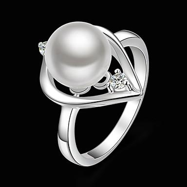 Damen Statement-Ring - Perle, Kubikzirkonia, versilbert Herz Modisch Eine Größe Weiß Für Party / Diamantimitate