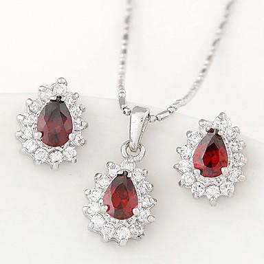 European Style Fashion Boutique Sweet Shiny Zircon Drop Earrings Necklace Set