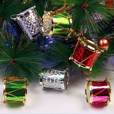 12pcs 2.5cm Colorized Side Drum Christmas Trees and Party Decoration