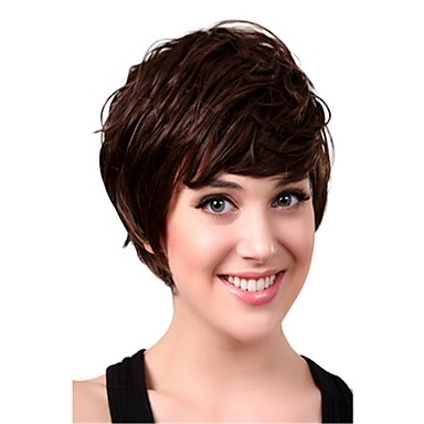 Synthetic Hair Wigs Curly With Bangs Capless