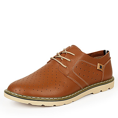 Men's Shoes Wedding / Office & Career / Party & Evening / Casual Leather Oxfords Black / Blue / Brown / Gold