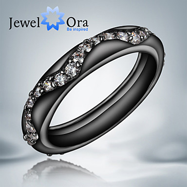 Ring Fashion Party Jewelry Cubic Zirconia / Gold Plated Women Band Rings 1pc,One Size Black / White