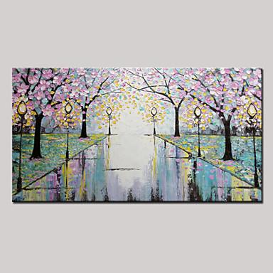 Hang malte oljemaleri Håndmalte - Landskap Moderne Lerret / Stretched Canvas