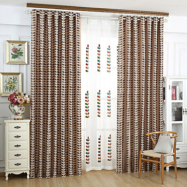 Rod Pocket Grommet Top Tab Top Double Pleat Two Panels Curtain Country Modern Neoclassical , Jacquard Bedroom Linen/Polyester Blend