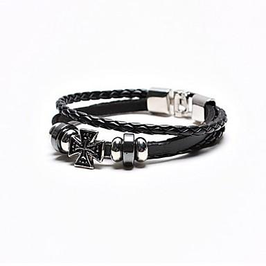 Men's Black Multilayer Leather Weave Bracelet with Cross