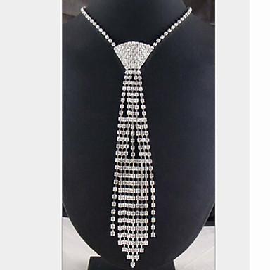 Dame Dusk Lang Uttalelse Halskjeder - Sølvplett, Fuskediamant dusk Hvit Halskjeder Smykker Til