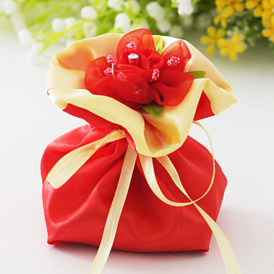 Creative Satin Favor Holder with Rhinestone Flower Favor Bags - 6
