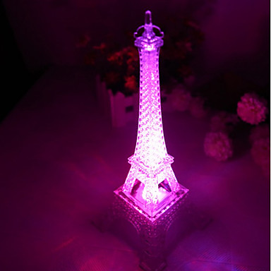 10*10*15CM Push Button Switch Romantic Monochrome Colorful Light The Eiffel Tower Light LED Lamp