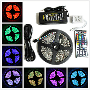 baratos Faixas de Luzes LED-ZDM® 5m Faixas de Luzes RGB 300 LEDs 5050 SMD 1 adaptador 12V 6A / 1 controlador remoto de 44 teclas / 1 cabo de corrente alternada RGB Impermeável / Cortável / Decorativa 12 V 1conjunto / IP65
