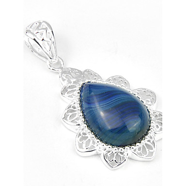 Men's Women's Pendant Geometric Drop Agate Gem Silver Plated Jewelry For Wedding Party Daily Casual Sports