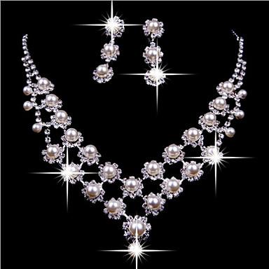 levne Dámské šperky-Perla Třásně Šperky Set Perly, Zirkon, Postříbřené dámy, Střapec, Party, Dvojitá vrstva Zahrnout Bílá Pro Párty Narozeniny Zásnuby Dar / Umělé diamanty / Küpeler / Náhrdelníky