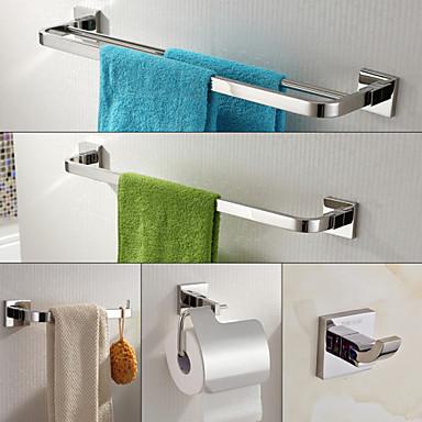 Tilbehørssett til badeværelset Moderne Rustfritt Stål 5pcs - Hotell bad tårnet bar Robe Hook Toalettrullholder