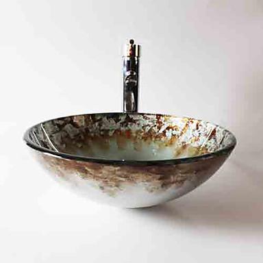 Nykyaikainen T12*Φ420*H145MM Pyöreä Sink Material on Karkaistu lasiKylpyhuoneen allas / Kylpyhuoneen hana / kylpyhuoneen asennusrengas /
