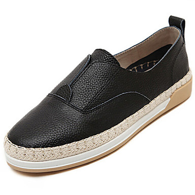 women's shoes leather flat heel comfort / round toe