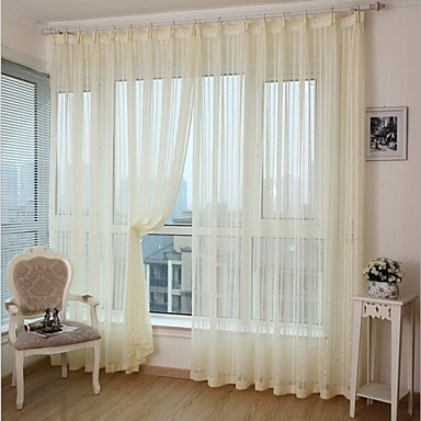 Rod Pocket Grommet Top Tab Top Double Pleat Pencil Pleat Two Panels Curtain Modern, Jacquard Stripe Bedroom Polyester Material Curtains