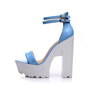 Naiset Kengät PU Kesä Comfort Korkokengät Tasapohja Käyttötarkoitus Kausaliteetti Musta Sininen Pinkki