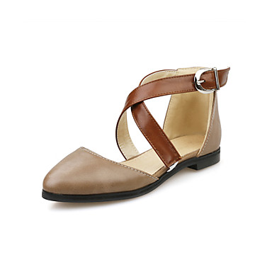 Women's Leatherette Spring / Summer / Fall / Comfort Flat Heel Buckle / Fall Hollow-out / Split Joint Black / Beige / Brown / Wedding 8c6c82