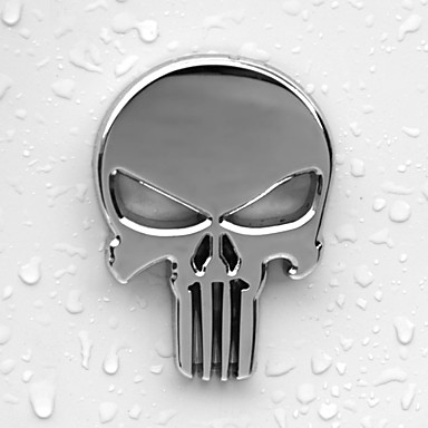 6x4.3cm kafatası kafa sağlam çinko alaşımı krom metal araç styling amblem 3d etiket serin korkutucu dış işareti