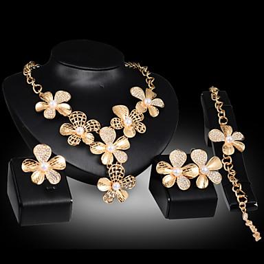 נשים סט תכשיטים פרחוני סגנון פרח חמוד מסיבה פרחים שרשרת\חוליות אופנתי Party אירוע מיוחד יום הולדת דמוי פנינה זירקוניה מעוקבת ציפוי זהב
