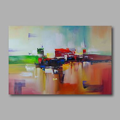 Ready to hang Stretched Hand-Painted Oil Painting on Canvas Wall Art Abstract Contempory Modern One Panel