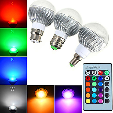 YWXLIGHT® 540 lm E14 GU10 E26/E27 B22 LED Globe Bulbs A60(A19) 1 leds High Power LED Dimmable Decorative Remote-Controlled RGB AC 85-265V