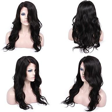 Gerçek Saç Komple Dantel Ön Dantel Peruk Vücut Dalgası % 130 % 150 Yoğunluk % 100 Elle Bağlanmış Afrp Amerikan Peruk Doğal saç çizgisi