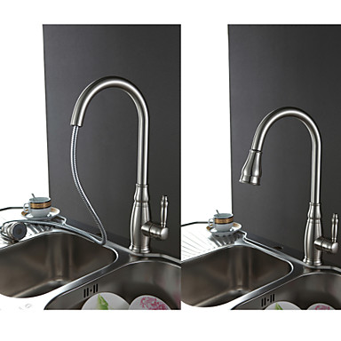 Traditional Pull-out/Pull-down Deck Mounted Pullout Spray Ceramic Valve Single Handle One Hole Nickel Brushed , Kitchen faucet