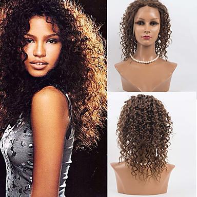 Ekte hår Helblonde Parykk Dyp Bølge 120% tetthet Ombre-hår / Naturlig hårlinje / Afroamerikansk parykk Dame Medium Blondeparykker med menneskehår / 100 % håndknyttet