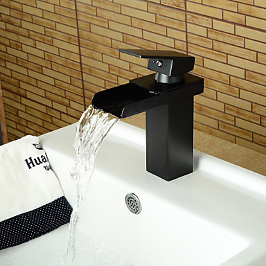 Contemporary Widespread Centerset Waterfall Ceramic Valve One Hole Single Handle One Hole Oil-rubbed Bronze, Bathroom Sink Faucet