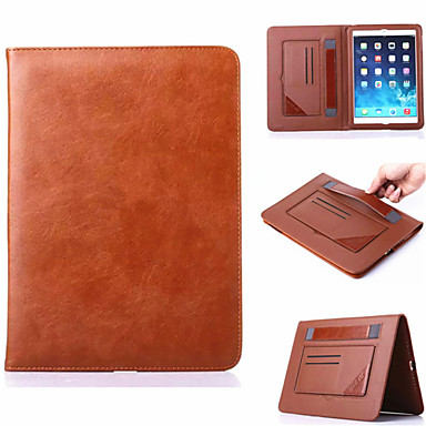 Case For iPad Air Card Holder with Stand Auto Sleep / Wake Full Body Cases Solid Color Genuine Leather for iPad Air