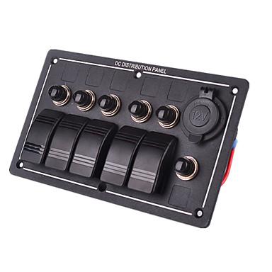 Iztoss Waterproof 5 Gang Aluminum LED Rocker Switch Panel Power Socket Rv car