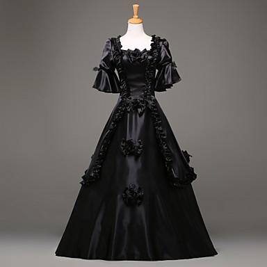 Kostymer i middelalderstil Victoriansk Kostume Dame Kjoler Maskerade Party-kostyme Vintage Cosplay Blonde Sengetøy Satin Lang Lengde
